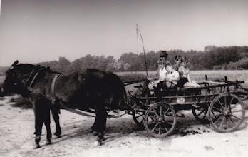 Photo: A lovas-szekéren legidősebb Bödők Károly és unokái: ifj.B. Károly és ifj. B. Dénes, a hosszúhajú B. Terike, a rövidhajú B.Katalin.