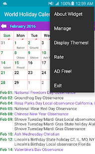 Holiday Calendar Free- screenshot thumbnail