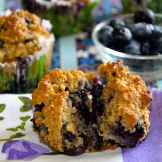 Gluten-Free High Protein Blueberry Muffins.