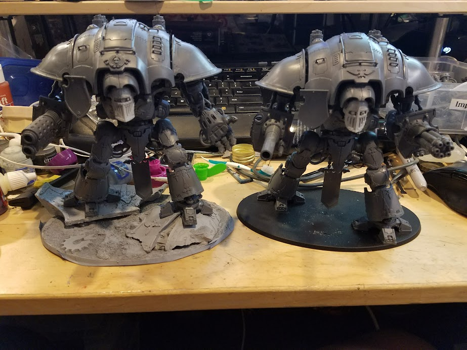 Two built but unpainted Imperial Knights