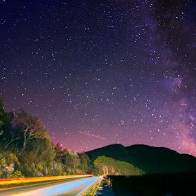 Skyline Drive at Night by Glen Fortner - Landscapes Starscapes ( national park, virginia, blue ridge, shenandoah, skyline drive )