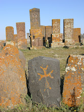 Photo: Large khachkar cemetery on the shores of Lake Sevan.