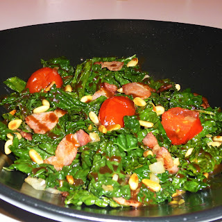 Warm Cavolo Nero, Bacon and Tomato Salad with Pine Nuts and Balsamic Dressing
