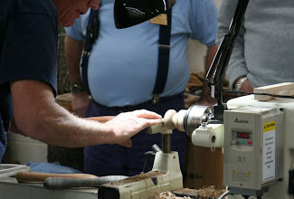 Photo: Bob has hollowed a million of these and can do it in his sleep, but the first time you try one, you'll find it's not as easy as he makes it look. Note that he's working from the back side of the lathe to achieve a comfortable arm position. Give it a try some time.