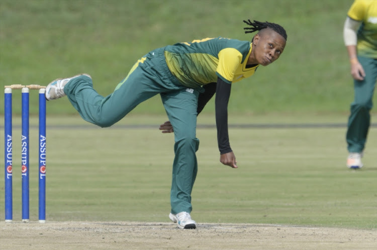 Raisibe Ntozakhe of SA Emerging during the Emerging Women's Triangular Series match against England Women Academy at Groenkloof Oval on April 17, 2018 in Pretoria.