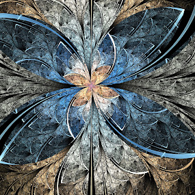 Elliptic Butterfly by Pam Blackstone - Illustration Abstract & Patterns ( apo, butterfly, apophysis, blue, grey, gold, fractal, flame )