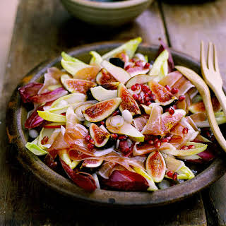 Fig, Prosciutto, Pear And Witlof Salad With Pomegranate Vinaigrette.