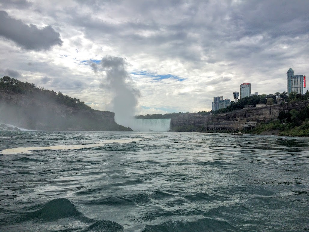 Looking upriver toward Horseshoe Falls. Canada on the right, US on the left.