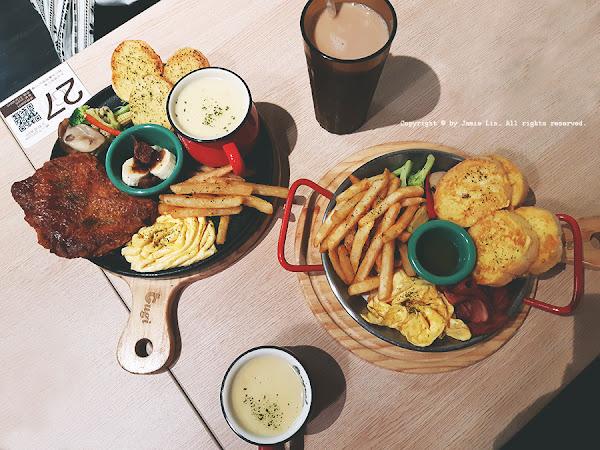 咕嘰咕嘰早午餐,各式豐富餐點,盤餐超飽足