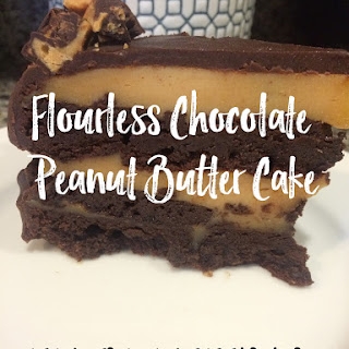 Flourless Chocolate Cake with filled with Peanut Butter Cream.