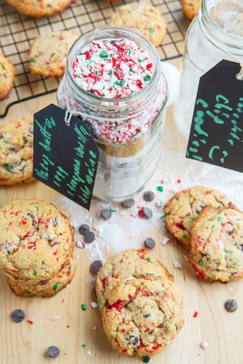 Click Here for Recipe: Peppermint Candy Cane Chocolate Chip Cookies in a Jar