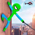 Flying Stickman Rope Hero Grand City Crime icon