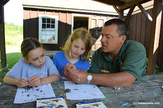 Photo: Identifying birds at the nature center at Burton Island State Park by Jessica Clarke