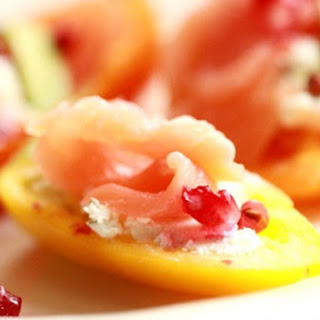 Smoked Salmon Filled Peppers with Goat Cheese and Pomegranate.
