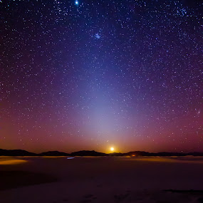 Moon Set by Craig Curlee - Landscapes Starscapes ( mountains, moon, sky, stars, astrophotography, dessert )