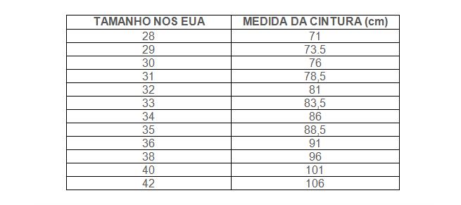 tamanho de cal+ºas masculina no estados Unidos1 Conversão Tamanho de Roupas EUA x Brasil