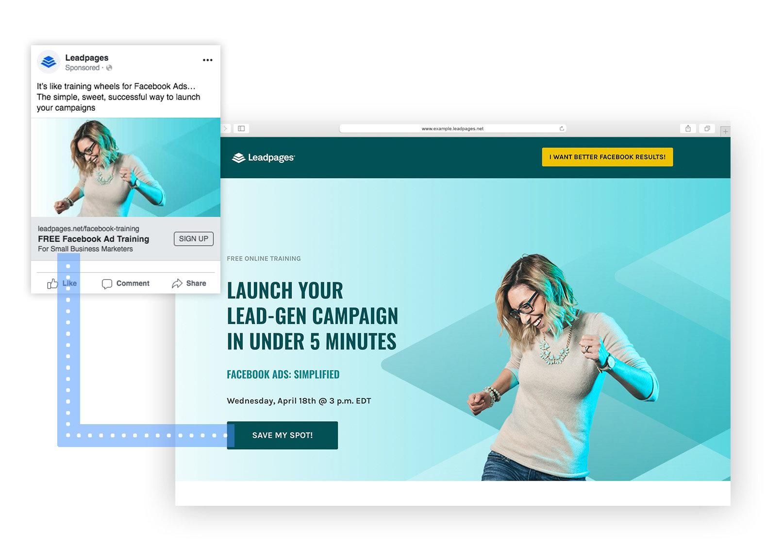Web advertising and landing page