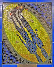 """Photo: Mosaico de """"Skin Game"""" na estação de Londres"""