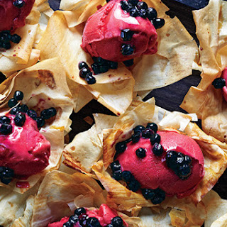 Phyllo Flowers with Sorbet and Blueberries