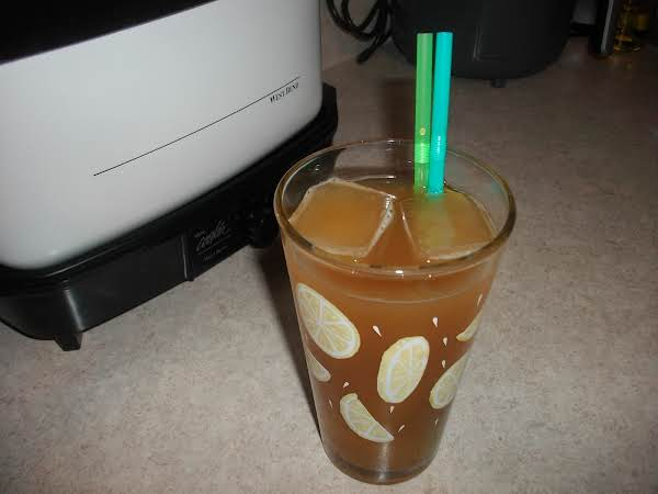 Photo Of Decaffeinated Lemon Flavored Iced Tea, Which I Also Used The Tea To Make Into Ice Cubes, So The Sweetened Tea Flavored Ice Cubes, Doesn't Dilute The Tea It's Self.