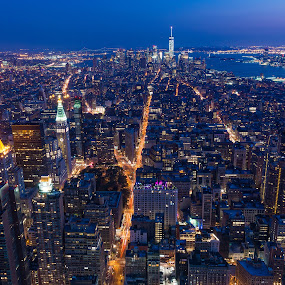 New York at night by Ty Yang - City,  Street & Park  Night ( new york, nightscape )