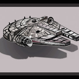 STAR WARS MILLENNIUM FALCON by Gerry Slabaugh - Drawing All Drawing ( millennium falcon, chewbacca, the last jedi, star wars, han solo, drawing )