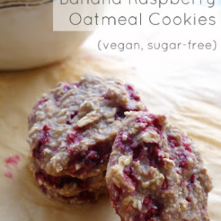 Soft Banana Raspberry Oatmeal Cookies.