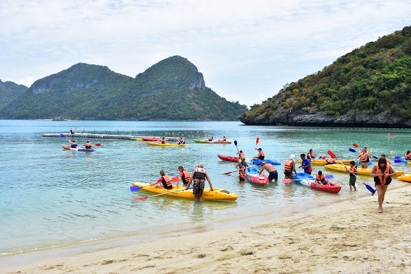 Paddle on a sit-on-top kayak around the island