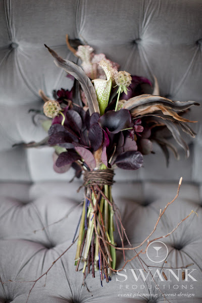 Photo: #Bouquet, #Feathers, #Twigs, #Creepy Chic Halloween Inspired Wedding. Wedding Planning, Event Design & Production by SWANK Productions at Hempstead House at Sands Point Preserve, www.swankproducti...