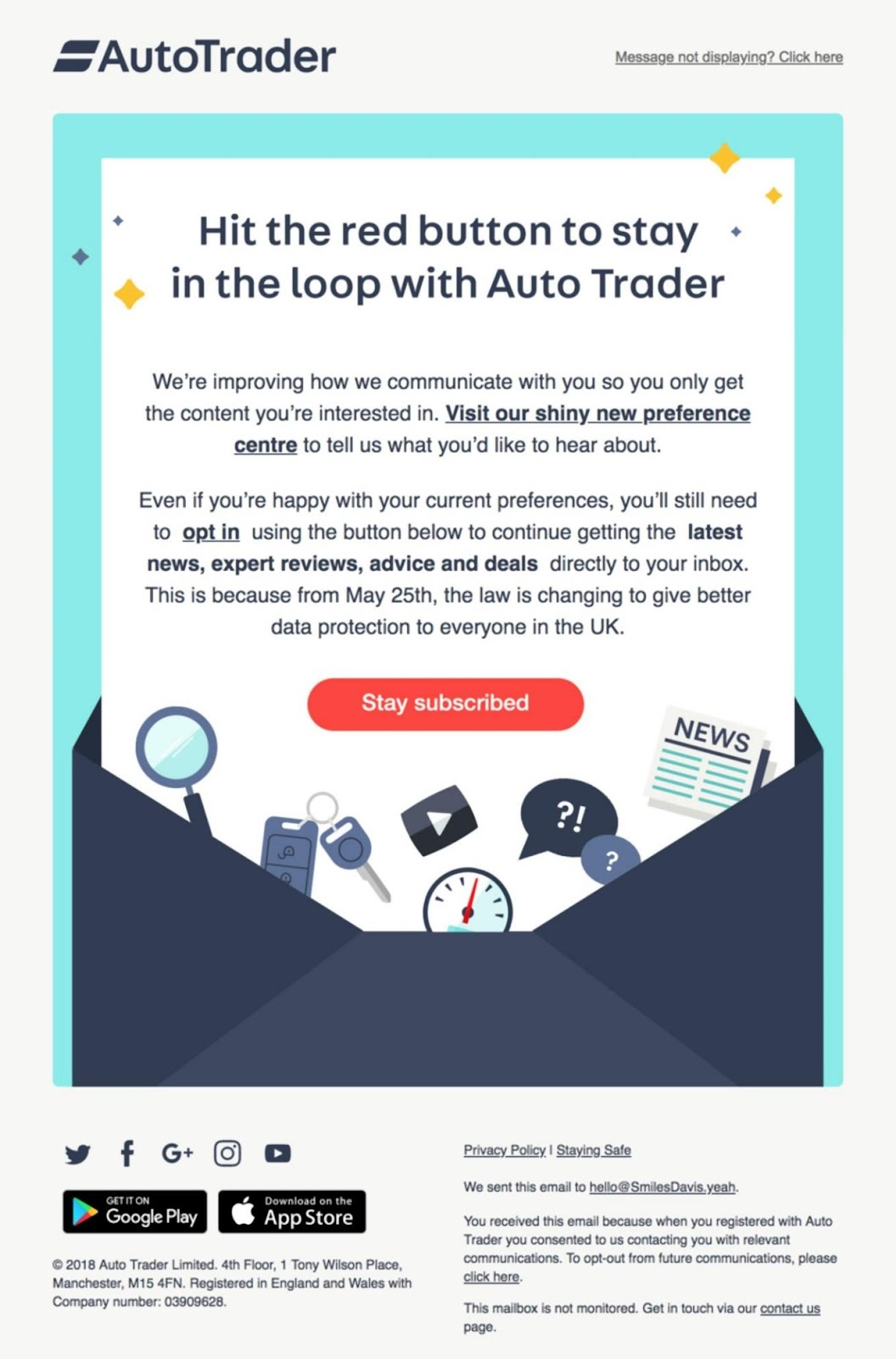AutoTrader email example asking users if they would like to unsubscribe
