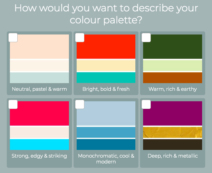 quiz question with color palette examples