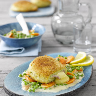 Kartoffel-Cordon-bleu mit Gemüse