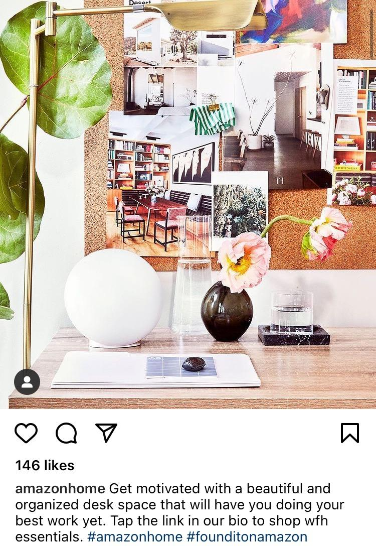 Amazonhome instagram post telling followers to go to the link in their bio