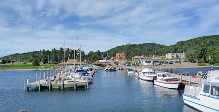 Photo: View from the excursion boat across the marina back to Munising.