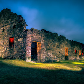 Surrender Smelting by Darrell Evans - Buildings & Architecture Decaying & Abandoned ( countryside, dales, hills, old, stone, landscape, gravel, sky, path, walkway, clouds, moorland, building, uk, grass, swaledale, green, surrender mill, yorkshire dales, old gang smelt mill, lighting, blue, outdoor, moors, night, reeth, decay )