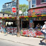 colorful restaurants in Kensington Market, Toronto in Toronto, Ontario, Canada