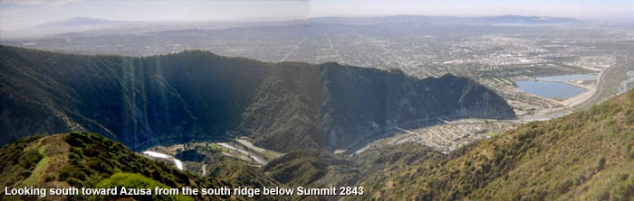 Photo: Looking south from the high point south of Summit 2843 toward the mouth of San Gabriel Canyon, Glendora Ridge, and Azusa