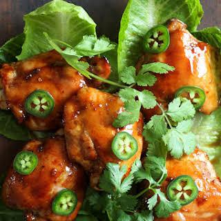 Sticky Tamarind Chicken with Crisp Lettuce.