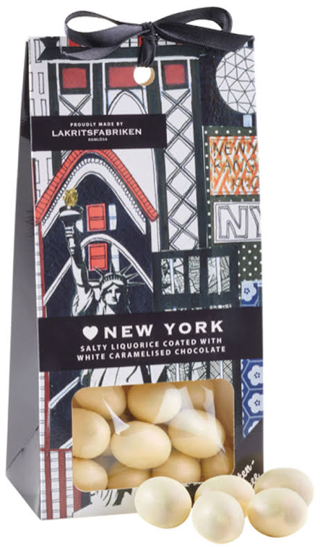 ❤ New York - saltlakrits dragerad i vit karamelliserad choklad - Lakritsfabriken Ramlösa