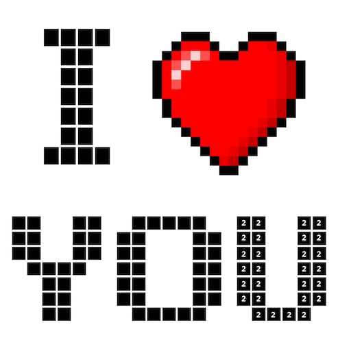 Valentines love color by number-Pixel art coloring Icon