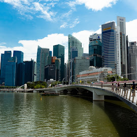 Singapore across the bridge by Bert Templeton - City,  Street & Park  Vistas ( maybank, ocbc, bank of america, skyline, water, merlion, singapore, fairmount, fairmont, bridge, river, skyscrapers, oub, tower )
