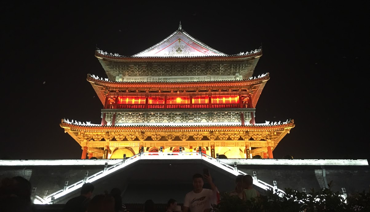 The beautifully lit Drum Tower