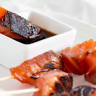Cured Brown Sugar Salmon Skewers.