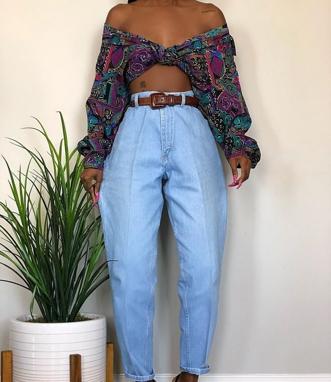 Colored banana jeans