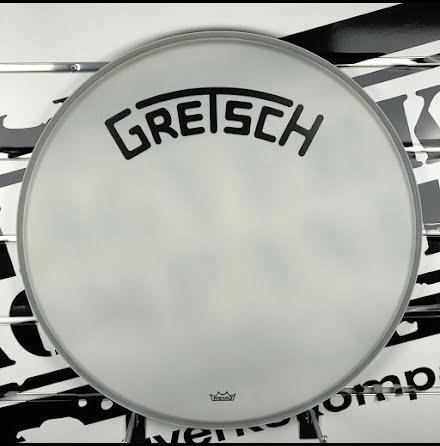 """20"""" Gretsch Frontskinn - Coated White Broadkaster Logo - GRDHCW20B"""