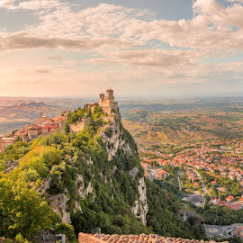View from the city wall by Luis Silva - City,  Street & Park  Vistas ( frame on frame, san marino, hill top, light, panorama, wall )