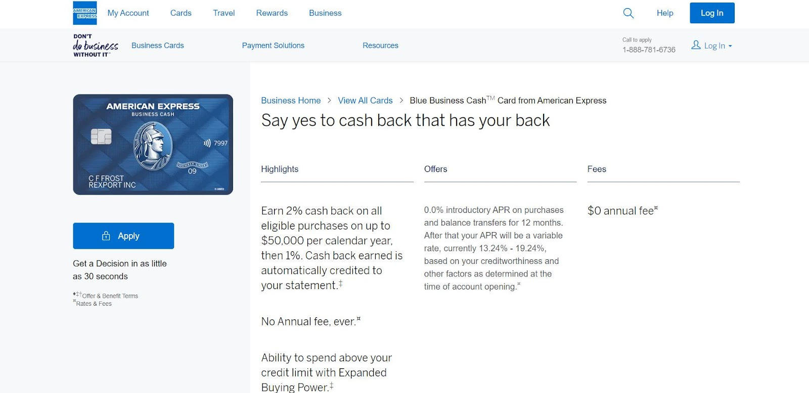 American Express Blue Business Cash Card: The Top 10 Business Credit Cards for Small Businesses