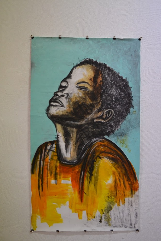 A portrait by Thulani Nhlapo, part of the works in exhibition at the new African Flavour Gallery. Picture: EDWARD TSUMELE