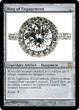 Photo: Malcolm made a Magic the Gathering card using the engagement ring!