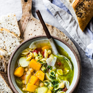 Golden Vegetable Chickpea Minestrone with Lemon Parsley Oil (Quick Version).